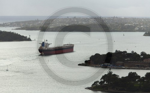A cargo ship in the harbor of Sydney, Australia, 01.06.2011