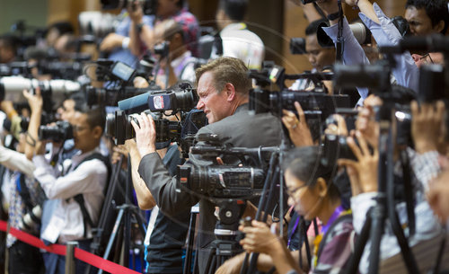 Journalisten beim 13ten ASEM Aussenminister treffen in Nay Pyi Taw in Myanmar, 20.11.2017.